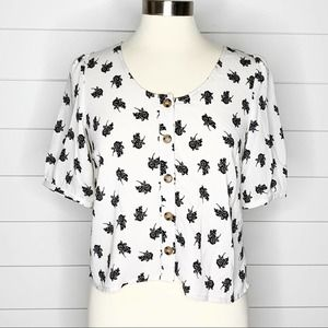 ASOS Floral Button Front Top Black White Small